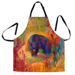 Berry Hunting Black Bear Custom Apron - Orange Green Brown Designer Apron - Exclusively Licensed Artwork - One Size Fits All