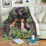 Silli Border Terrier Puppy Dog with Flowers Fleece Blanket- Black Green Pink TV Blanket - Exclusively Licensed Artwork - 3 Sizes - S L XL