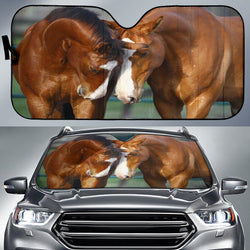 Best Friends Two Chestnut Quarter Horses - Auto Sunshade for Car Windshield Protector - Exclusively Licensed Artwork on Car Sunshade