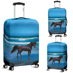 Black Beauty on the Beach Luggage Cover