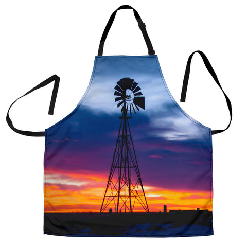 Windmill with Fiery Sunset Custom Apron- Orange Purple and Black Designer Apron - Exclusively Licensed Artwork - For Men and Women