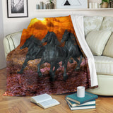 3 Gorgeous Black Stallion Horses at Sunset Fleece Blanket - Black and Red TV Blanket - Exclusively Licensed Artwork - 3 Sizes - S L XL