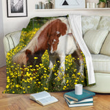Adorable Baby Horse in Field with Mommy Fleece Blanket - Brown Yellow and Green TV Blanket - Exclusively Licensed Artwork - 3 Sizes - S L XL