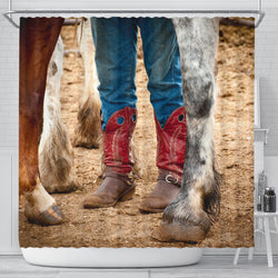 Cowboy Boots Western Horse Shower Curtain