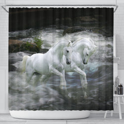White Lipizzaners on Black Shower Curtain