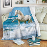 White Horse in Ocean Waves Fleece Blanket - White and Blue TV Blanket - Exclusively Licensed Artwork - 3 Sizes - Youth, Large, X-Large