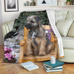 Adorable Border Terrier Puppy Fleece Blanket - Grey and Green TV Blanket - Exclusively Licensed Artwork - 3 Sizes - Youth, Large, X-Large