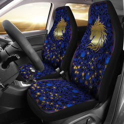 Golden Horse on Blue Car Seat Covers