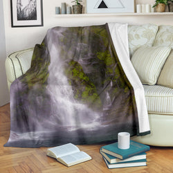 Misty Mountain Stream Fleece Blanket - Green Grey and White TV Blanket - Exclusively Licensed Artwork - 3 Sizes - Youth, Large, X-Large