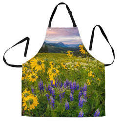 Meadow with Wildflowers Custom Apron- Yellow Purple and Green Designer Apron - Exclusively Licensed Artwork - For Men and Women