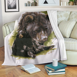 Magnificent Black Bear Fleece Blanket - Black, White and Green TV Blanket - Exclusively Licensed Artwork - 3 Sizes - Youth, Large, X-Large