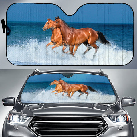 Bay and Chestnut in Surf Horse Sunshade for Car Windshield