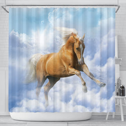 Palomino in the Clouds Horse Shower Curtain