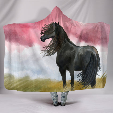 Black Horse in the Wind Hooded Blanket