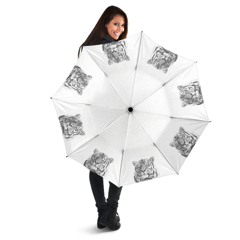 White Tiger - Black and White Umbrella - Folding Umbrella with UV Protection