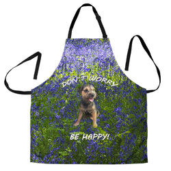 Silli Border Terrier Puppy Dog Custom Apron - Don't Worry Be Happy - Green and Purple Designer Apron - Exclusively Licensed Artwork