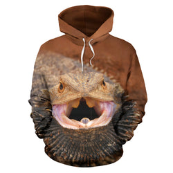 Bearded Dragon Lizard Hoodie Sweatshirt - Rust - For Men, Women and Children