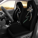 His and Her Buck and Doe Deer Silhouette on Black Seat Covers