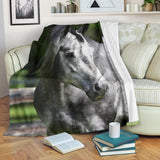 Magnificent Dapple Gray Horse Fleece Blanket - Grey and Green TV Blanket - Exclusively Licensed Artwork - 3 Sizes - Youth, Large, X-Large