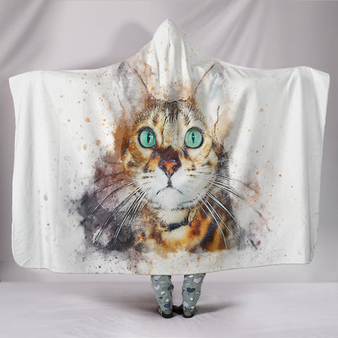 Watercolor Collection Hooded Cat Blanket