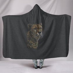 Elusive Cheetah TV Blanket - Black Blanket with Ghostly Cheetah - Wearable Blanket - Exclusive Artwork - Size Adult and Youth