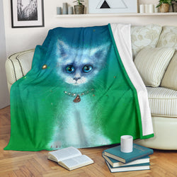 Cosmic White Kitty Cat Fleece Blanket - White Blue and Green TV Blanket - Exclusively Licensed Artwork - 3 Sizes - Youth, Large, X-Large