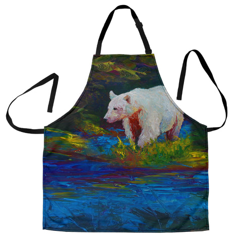 Polar Bear Springtime Custom Apron - Blue Green White Designer Apron - Exclusively Licensed Artwork - One Size Fits All