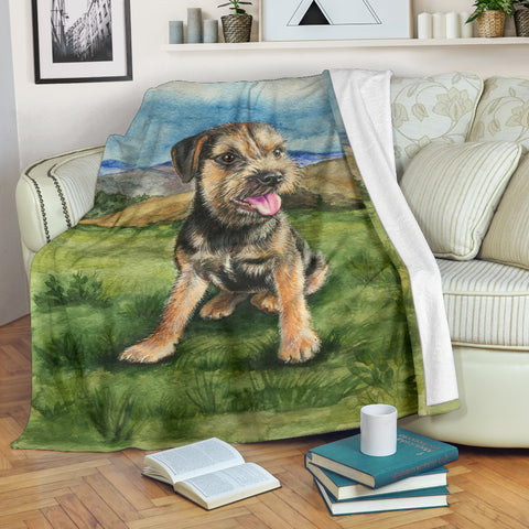 Silli Border Terrier Puppy Dog in the Field Fleece Blanket- Blue Green TV Blanket - Exclusively Licensed Artwork - 3 Sizes - S L XL