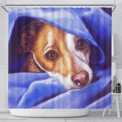 Darling Blue Terrier Dog Shower Curtain