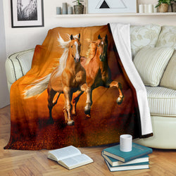 Gorgeous Palomino Horses Fleece Blanket - Rust Colored TV Blanket - Exclusively Licensed Artwork - 3 Sizes - Youth, Large, X-Large