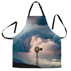 Stormy Day Windmill Custom Apron - Grey and Black - Designer Apron - Exclusively Licensed Artwork - For Men and Women - One Size Fits All
