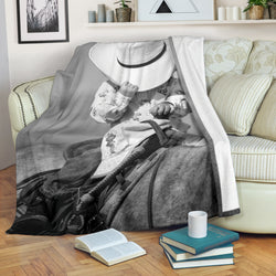 Young Cowgirl on Horse Fleece Blanket - Gray and White TV Blanket - Exclusively Licensed Artwork - 3 Sizes - Youth, Large, X-Large