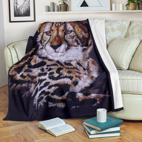 Gorgeous Cheetah Fleece Blanket - Black, Gold and White TV Blanket - Exclusively Licensed Artwork - 3 Sizes - Youth, Large, X-Large