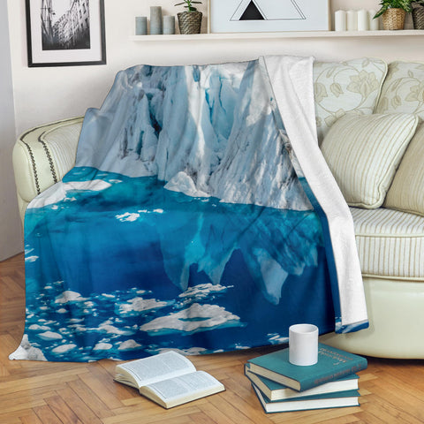 Glacier Arctic Splendor Fleece Blanket - White Ice and Blue Water TV Blanket - Exclusively Licensed Artwork -3 Sizes -Youth, Large, X-Large