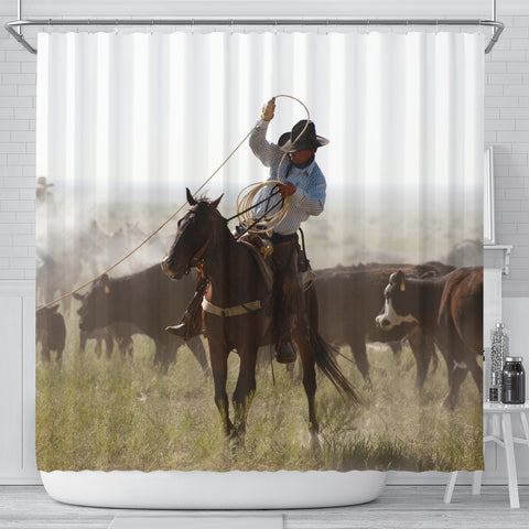 A Big Day Roping Cattle Cowboy Shower Curtain