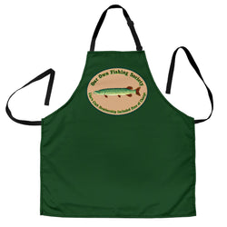 Men's Fishing Liars Club Custom Apron – Dark Green, Green Stripe, Light Green and White Fishing Apron - Exclusively Licensed Artwork