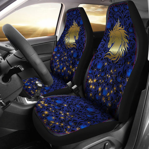 Wild Horse Blue Rose Damask Car Seat Covers