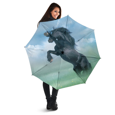 Blue Green Black Stallion Rearing Horse Umbrella