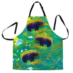 Springtime Black Bear Custom Apron - Mint Green, Yellow and Brown Designer Apron - Exclusively Licensed Artwork - One Size Fits All