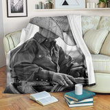 Young Cowboy on Horse Fleece Blanket - Gray and White TV Blanket - Exclusively Licensed Artwork - 3 Sizes - Youth, Large, X-Large