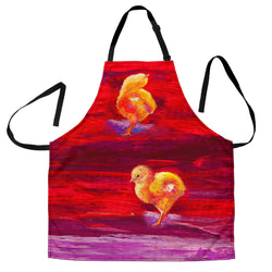Baby Chicks Chicken Custom Apron - Yellow, Purple and Red Designer Apron - Exclusively Licensed Artwork - One Size Fits All
