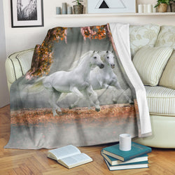 White Lipizzaner Horses Fleece Blanket - White Gray and Beige TV Blanket - Exclusively Licensed Artwork - 3 Sizes - Youth, Large, X-Large
