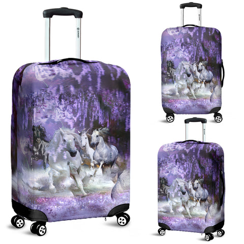 White and Black Horses Running In a Purple Dream Elastic Luggage Cover - Purple, White and Black Spandex Luggage Cover - Small, Med.& Large