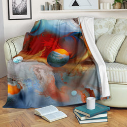 Out of this World Planets Fleece Blanket - Red Blue and Gray TV Blanket - Exclusively Licensed Artwork - 3 Sizes - Youth, Large, X-Large