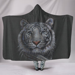 Elusive White Tiger TV Blanket - Black and White - Exclusive Licensed Artwork - Youth and Adult Sizes