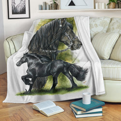 Rectangular Fleece Blanket - Gorgeous Black Friesian Horse TV Blanket - Exclusively Licensed Artwork - 3 Sizes - Youth, Large, X-Large