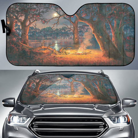 Cowboys around the Campfire Auto Sunshade With Design – Silver, Red, Orange Blue Brown Car Sunshade Art