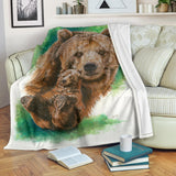 Grizzly Bear Fleece Blanket - Brown Bear on White and Green TV Blanket - Exclusively Licensed Artwork - 3 Sizes - Youth, Large, X-Large