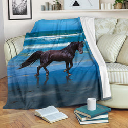 Black Horse on the Beach Fleece Blanket - Black and Blue Rectangular TV Blanket - Exclusively Licensed Artwork - 3 Sizes - S L XL