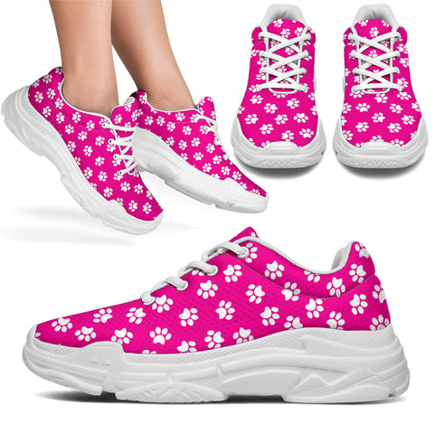 Paw Print Hot Pink Chunky Sneakers - Hot Pink with White Paw Prints and White Sole